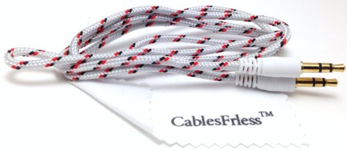 Cablesfrless (Tm) 3Ft 3.5Mm Auxiliary (Aux) Audio Jack Cable (Braided Style) (White)