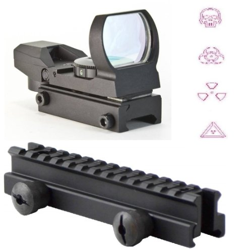 """Ultimate Arms Gear Qd Tactical 1"""" Weaver-Picatinny High See Thru Stanag Riser Mount For Ar15 M4 Flattop Rifle Scope + Cqb 4 Multi Reticle Red Warfare Edition Open Reflex Sight With Weaver-Picatinny Rail Mount - Combo Combination Package Kit Set Fits Ar15"""