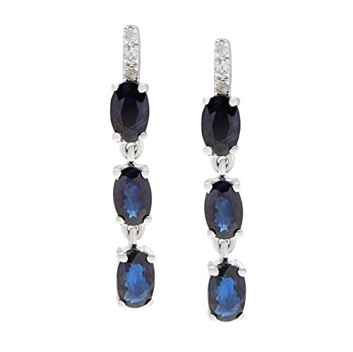 10k White Gold 1.56ct Genuine Oval Sapphire and Diamond Drop Earrings