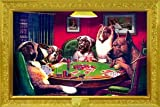 FRAMED KELLY DOGS PLAYING CARDS POKER POSTER FR 24029