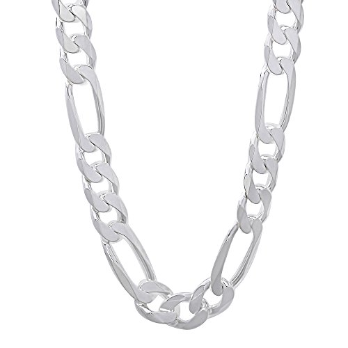 """Men'S 8Mm Real 925 Sterling Silver Figaro Link Chain Necklace, 24"""""""
