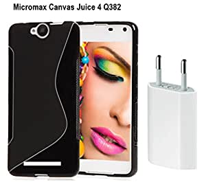 Free High Quality USB Charger Combo Pack Super Saver With Anti-Skid TPU Back Case Cover for Micromax Canvas Juice 4 Q382