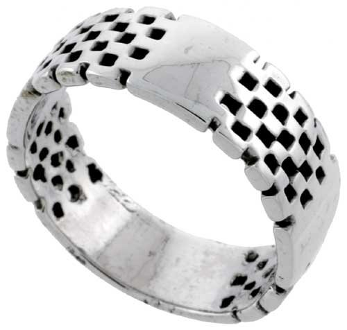 Sterling Silver Checkerboard Wedding Band Ring, size 12