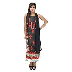 Kashish Creations Women Resham Black & Cream Semi Stitched Salwar Suit