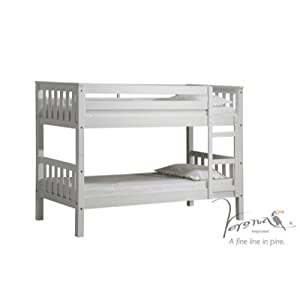 Verona Design Pine Wood Barcelona White Bunk Bed with Painted, 201 x 145 x 86 cm, 1-Piece, White Pine