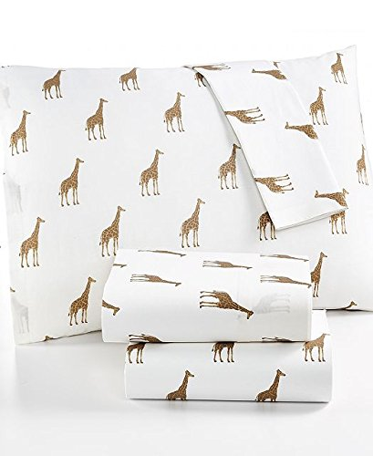 Martha Stewart WHIM Collection 100% Cotton Sheet Set Sparkley Giraffes (Queen)