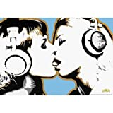 Steez Girls Kissing Art Poster Print - 24x36 custom fit with RichAndFramous Black 36 inch Poster Hangers