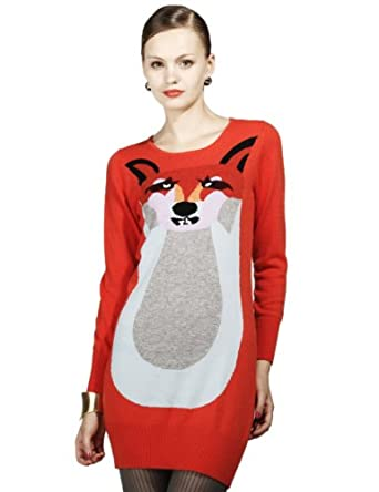 Maxchic Women's Wool Cashmere-blended Fox Print Ribbed Sweater Dress Q04316S12,Red,Small