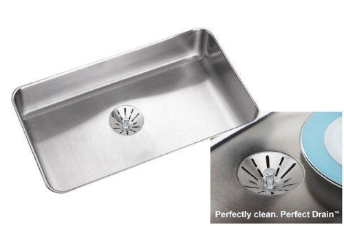 Elkay ELUHAD2816PD-55 Satin Stainless Steel Gourmet ADA Compliant Undermount Single Bowl Kitchen Sink Package with Perfect Drain