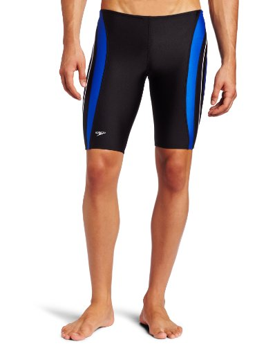 Speedo Men's Rapid Splice Xtra Life Lycra Jammer Swimsuit, Black/Blue, 34 image