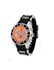 Aquaswiss Chronograph Swiss Quartz Large 50 MM Watch Orange Dial Stainless Steel Black Bezel Day Date #62XG0149
