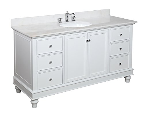 Bella 60 Inch Single Sink Bathroom Vanity Whitewhite Includes White Cabinet With Soft Close