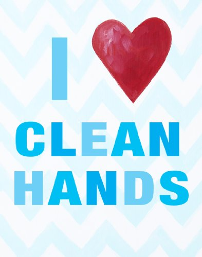 Cici Art Factory Wall Hanging, I Heart Clean Hands Blue