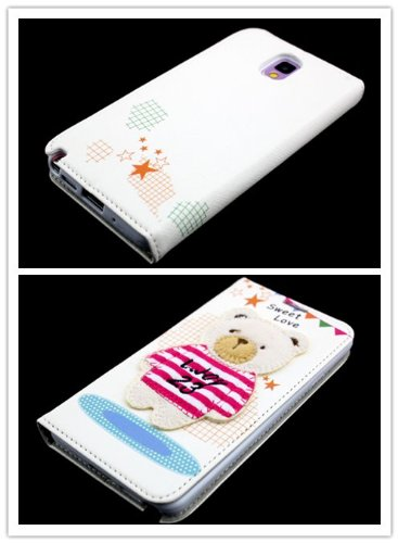Big Dragonfly New Arrivals Eco Skin Cute 3D Pattern Folio Pu Leather Case With Cover For Samsung Galaxy Note 3 Iii With Built-In Stand, Card Slots And Two Tiny Suction Cups Retail Package(Big Rose Red & White Stripe T-Shirt Bear Sweet Love) White front-1040551