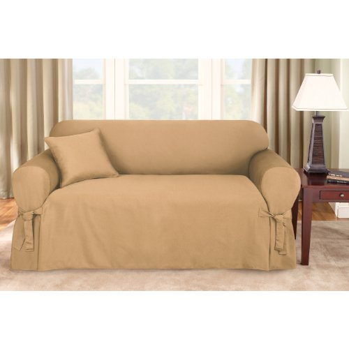 Sure Fit Logan 1-Piece Ties Sofa Slipcover, Sand front-689275