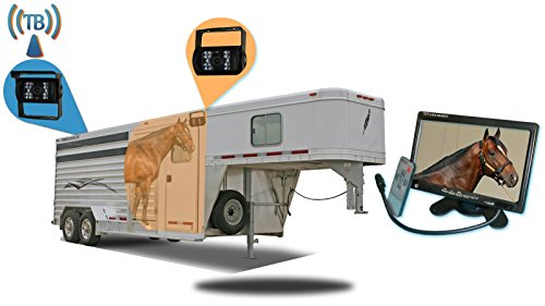 Tadibrothers 7 Inch Horse Trailer Monitor with 2 Wireless Mounted RV Backup Cameras