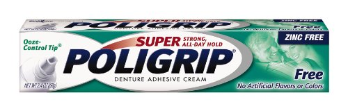 Super Poligrip Zinc Free Denture Adhesive Cream, 2.4-Ounce Tubes (Pack of 4) (Denture Adhesive Cream compare prices)