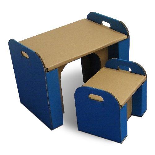森井紙器 段ボール工作シリーズ 子供専用 ダンボールの机&イス ブルー