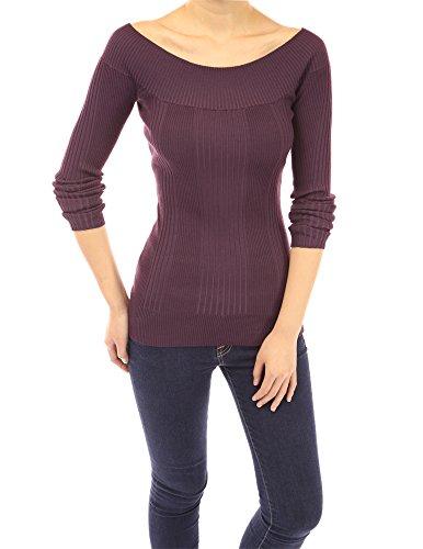 PattyBoutik Women's Boat Neck Ribbed Sweater (Dark Purple M)