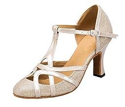 TDA Womens Mid Heel Champagne PU Leather Salsa Tango Ballroom Latin Party Dance Shoes CM101 8.5 M US