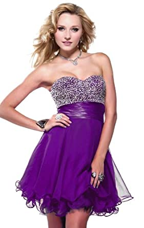 Faironly Strapless Silk Chiffon Mini Short Above Knee Formal Party Prom Cocktail Dress (S, Purple)