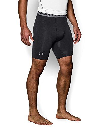 Under Armour Men's HeatGear Armour Compression Shorts - Mid, Black/Steel, Medium