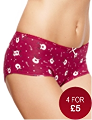 Cotton Rich Low Rise Reindeer Print Shorts