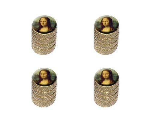 Mona Lisa Painting By Leonardo Da Vinci Tire Rim Wheel Aluminum Valve Stem Caps - Gold Color front-326374