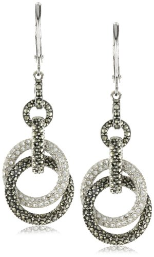 Judith Jack Sterling Silver Marcasite and Crystal Pave Knot Drop Earrings