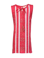 Budding Bees Girls Red Embroidered A-Line Dress