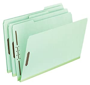 Pendaflex Pressboard Folder With Fasteners, 1/3 Cut, Legel Size, Light Green, 25 Per Box (17183)