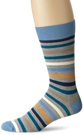 PACT Men's All Over Blue Stripe Crew Sock, Blue Stripe, One Size