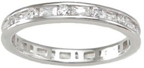 925 Sterling Silver CZ Wedding Band Stackable Eternity Ring