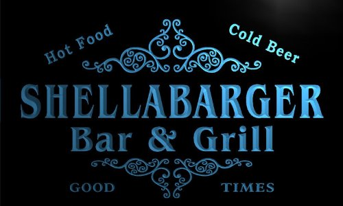 u40998-b SHELLABARGER Family Name Bar & Grill Home Decor Neon Light Sign