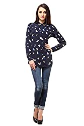 Femme India Women Poly Crepe Navy blue Butterfly print Butterfly Top