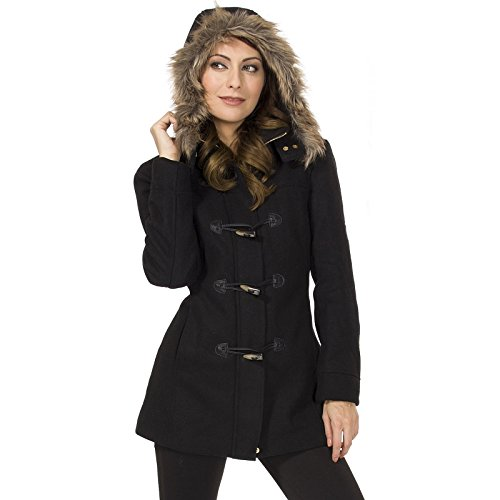 Alpine Swiss Duffy Women's Black Wool Coat Fur Trim Hooded Parka Jacket Large (Women Coat Hooded compare prices)