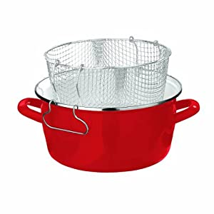Premier Housewares 16 X 33 X 27 cm 5 L Deep Fryer with Pyrex Lid, Red