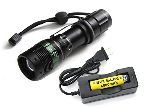 Intsun® Zoomable High Powered 365 Nm Uv Ultraviolet Led Flashlight Blacklight Used For Detecting Fluorescer In Cosmetics And Baby Stuff, Discover Counterfeit Banknotes, Scorpions, Minerals, Diamonds, Etc. Comes With 1 18650 Batteries And 1 Charger.