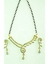 KARP 24K Gold Plated American Diamond Mangalsutra With Pendant & Earrings Style - 21