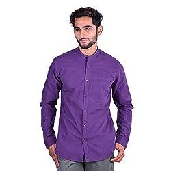 CORTOS Purple 100% Cotton Plain Regular fit casual Solid Shirt (Size: Medium)