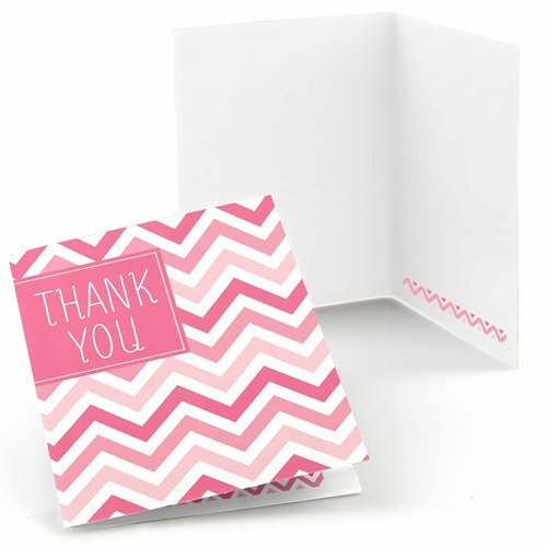 Chevron Pink Thank You Cards (8 count)