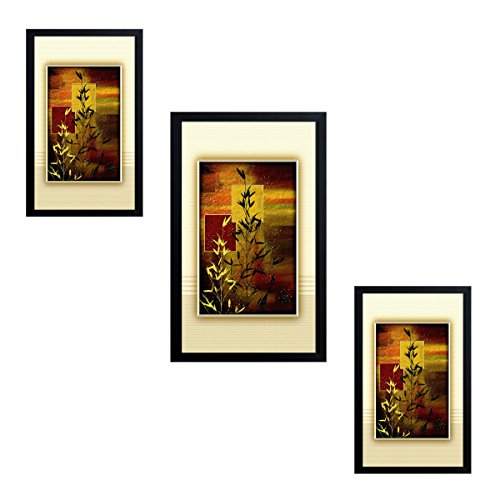 Jay Ganesh Frames, Digitally Printed Classic, Creative And Decorative Photo Frames/Wall Hangings For Home Decor, Bamboo Wonder Set With Black Frame, Size: Middle Frame-8X13 Inch, Side Frames-7X11 Inch