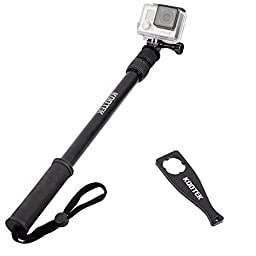 Kootek Selfie Stick Pole Handheld Extendable Monopod with Gopro Mount Adapter ThumbScrew and Wrench