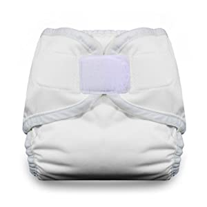 Thirsties Diaper Cover with Hook and Loop, White, X-Small