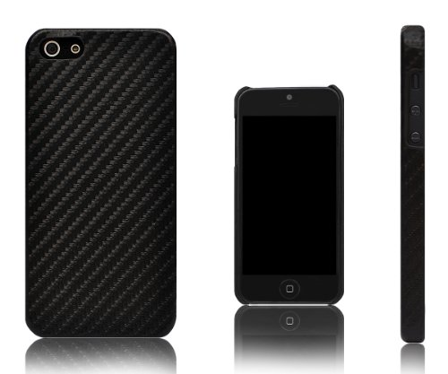 Xcessor Carbon Fibre Effect Hard Plastic Case for Apple iPhone 5 and 5S. Black