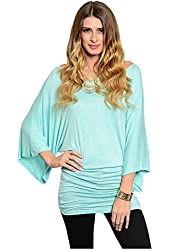 G2 Chic Women's Long Kimono Sleeve Stretchy Knit Casual Jersey Top