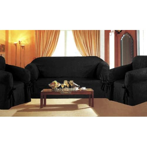 3 Pieces Solid Black Suede Corduroy Couch
