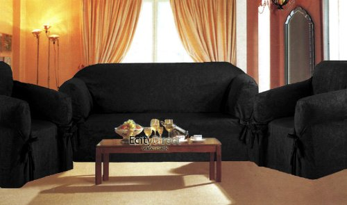 3 Pieces Solid Black Suede Corduroy Couch/sofa Cover+loveseat+chair Slipcover
