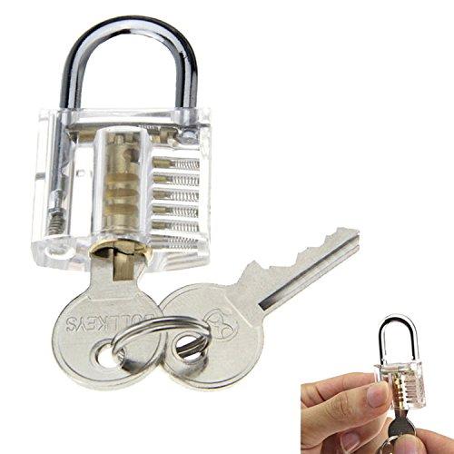 SUNNOW® Professionelle Lockpicking und 12-teiliges Pick-Set Sichtbar Übungschloss Vorhängeschloss Praxis Hangschloss mit Schlüsseln (Silbern) - 4