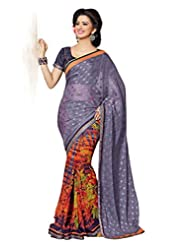 AG Lifestyle Multi Faux Georgette & Jacquard Pallu Saree With Unstitched Blouse ELG8003